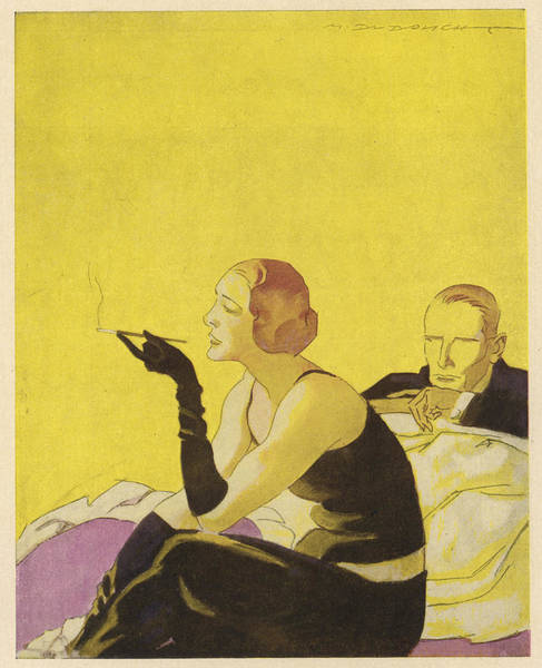 Wall Art - Drawing - An Elegant Lady Smokes A  Cigarette by Mary Evans Picture Library
