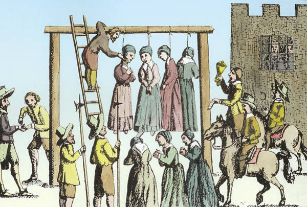 Condemned Wall Art - Painting - An Execution Of Witches In England by English School
