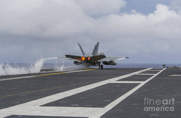 Uss George Washington Wall Art - Photograph - An Fa-18e Super Hornet Takes by Stocktrek Images