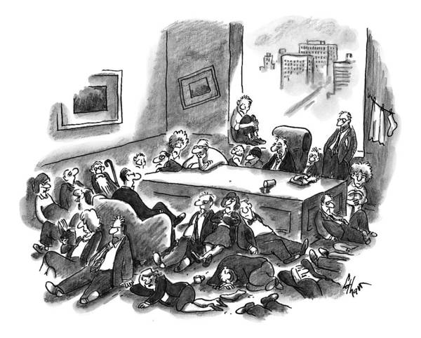 January 18th Drawing - An Office Room Is Seen Overflowing With Men by Frank Cotham