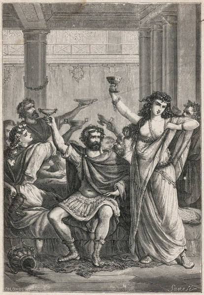 Wall Art - Drawing - Ancient Romans Celebrate With  A Drink by Mary Evans Picture Library