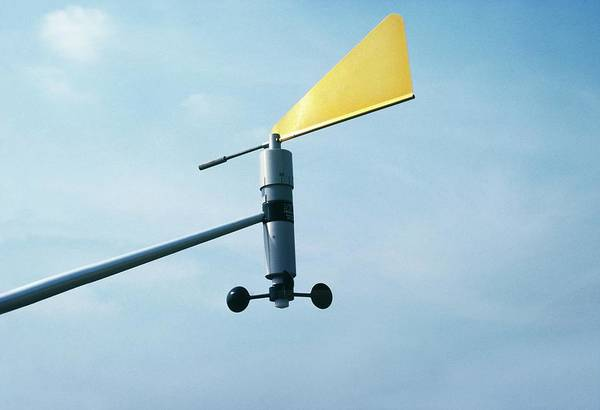 Weather Vane Photograph - Anemometer by British Crown Copyright, The Met Office / Science Photo Library