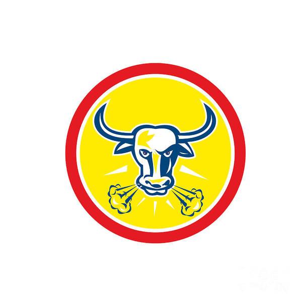 Longhorn Digital Art - Angry Bull Head Circle Retro by Aloysius Patrimonio