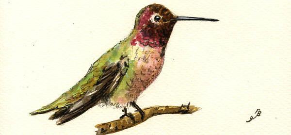 Small Birds Painting - Anna S Hummingbird by Juan  Bosco
