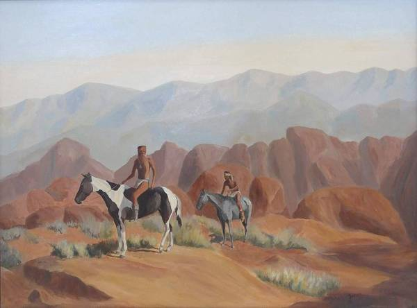 Valley Of Fire Painting - Apache Braves In The Valley Of Fire by Gretchen Jones