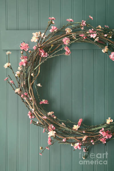 Photograph - Apple Blossom Wreath Hanging On Coat Hook by Sandra Cunningham