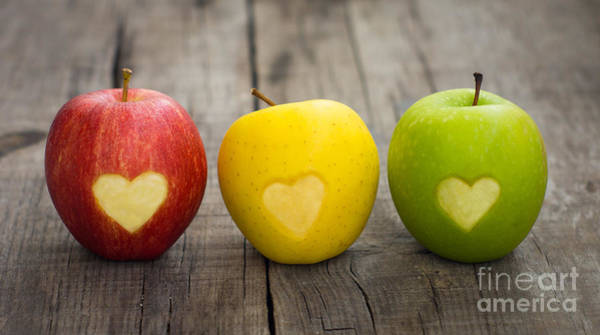 Wall Art - Photograph - Apples With Engraved Hearts by Aged Pixel