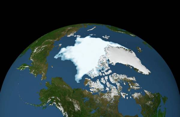 Wall Art - Photograph - Arctic Ice Minimum Extent by Nasa/goddard Space Flight Center Svs/science Photo Library