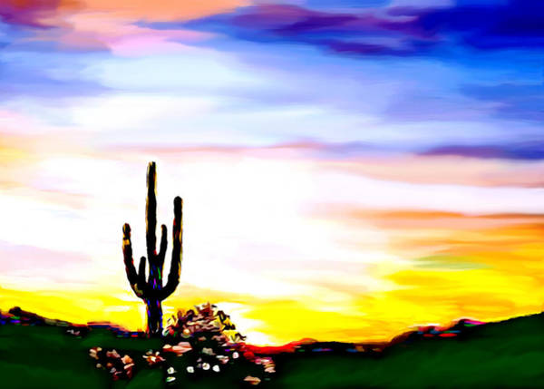 Painting - Arizona Saguaro Tonto National Monument by Bob and Nadine Johnston