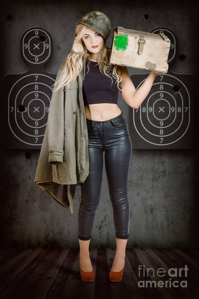 Wall Art - Photograph - Army Pinup Girl At Rifle Range. Bullet Proof by Jorgo Photography - Wall Art Gallery