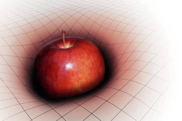 Gravitation Photograph - Artwork Of Apple Warping Spacetime by Mark Garlick