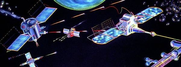 Wall Art - Photograph - Artwork Of Star Wars (sdi) Satellites In Action by Andrzej Dudzinski/science Photo Library