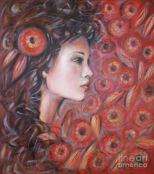 Painting - Asian Dream In Red Flowers 010809 by Selena Boron