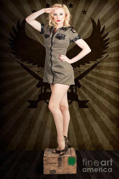 Addressing Photograph - Attractive Blond Pin-up Army Girl. Military Salute by Jorgo Photography - Wall Art Gallery