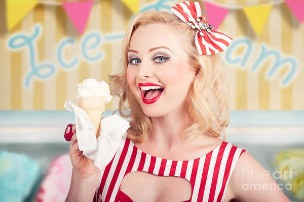 Wall Art - Photograph - Attractive Retro Pinup Girl Eating Ice Cream Cone by Jorgo Photography - Wall Art Gallery