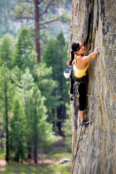 Wall Art - Photograph - Attractive Woman Rock Climbing High by Corey Rich