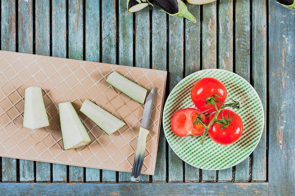 Blades Photograph - Aubergines And Tomatoes by Tom Gowanlock
