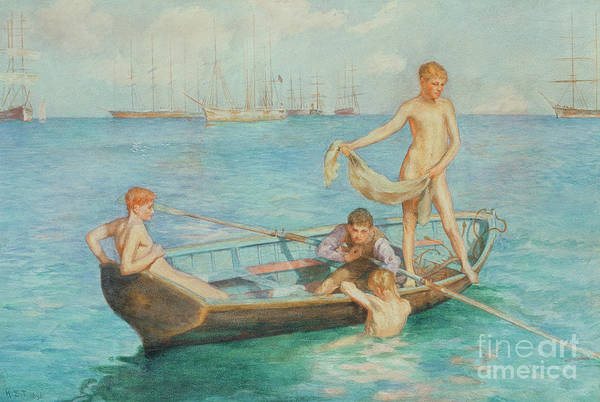 Towels Painting - August Blue by Henry Scott Tuke