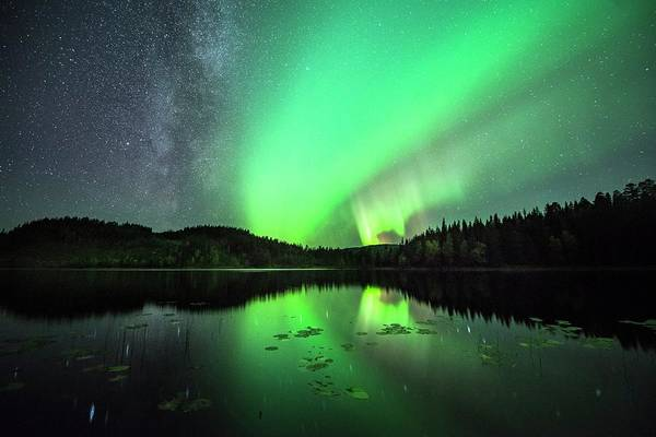 Boreal Forest Photograph - Aurora Borealis And The Milky Way by Tommy Eliassen/science Photo Library