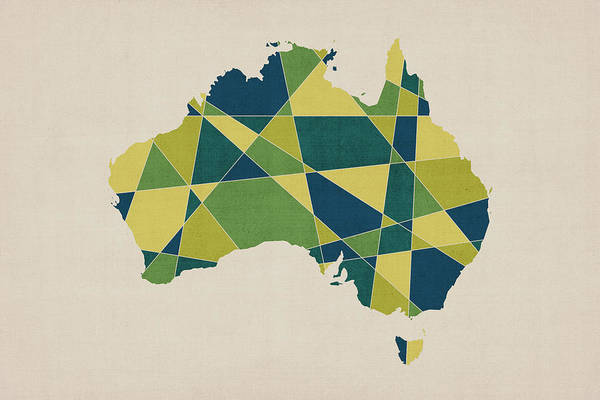 Queensland Digital Art - Australia Geometric Retro Map by Michael Tompsett