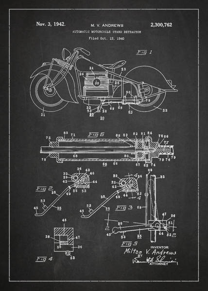 Wall Art - Digital Art - Automatic Motorcycle Stand Retractor Patent Drawing From 1940 by Aged Pixel