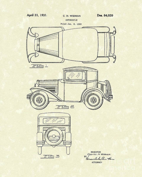 Automobile Drawing - Automobile 1931 Patent Art by Prior Art Design