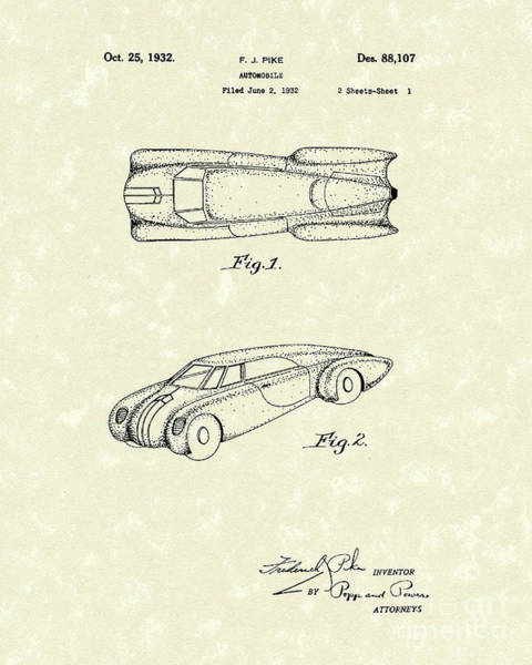 Automobile Drawing - Automobile 1932 Patent Art by Prior Art Design