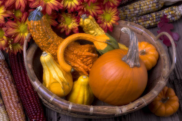 Indian Corn Photograph - Autumn Basket by Garry Gay