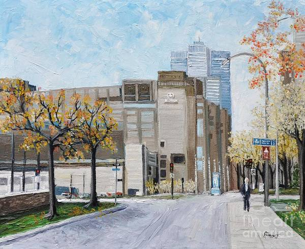 Montreal Street Scene Painting - Autumn In The City by Reb Frost
