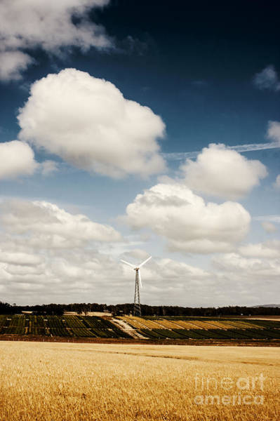 Wind Generators Photograph - Autumn Landscape Of A Sustainable Tasmanian Farm by Jorgo Photography - Wall Art Gallery