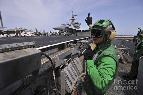 Flight Deck Photograph - Aviation Boatswain's Mate Signals by Stocktrek Images