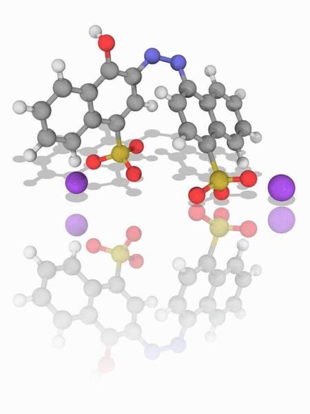 Wall Art - Photograph - Azorubine Organic Compound Molecule by Laguna Design/science Photo Library
