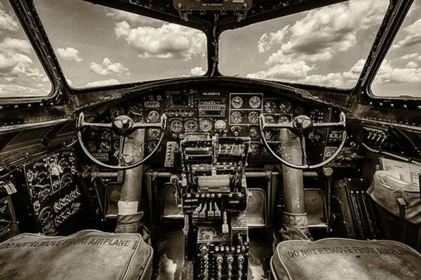 Military Photograph - Cockpit Of A B-17 by Mike Burgquist