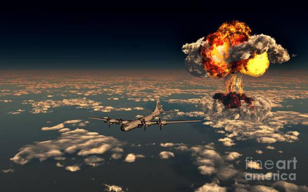 Nuclear Bomber Wall Art - Digital Art - B-29 Superfortress Flying Away by Mark Stevenson