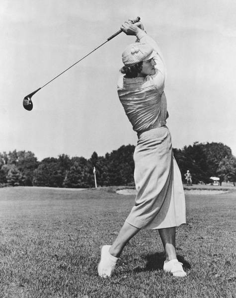 Beret Photograph - Babe Didrikson Golfing by Underwood Archives