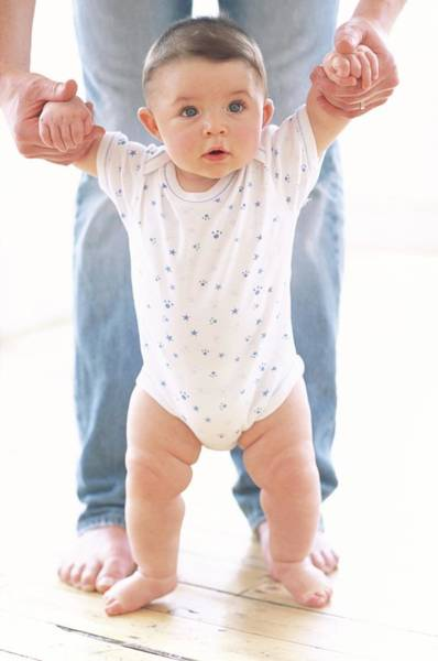 Infant Photograph - Baby Boy And Father by Ian Hooton/science Photo Library