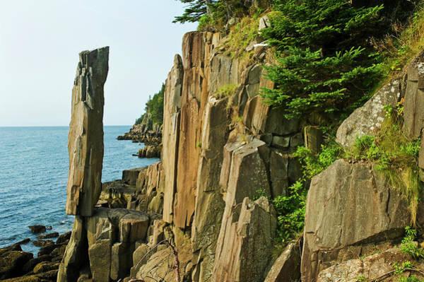 Wall Art - Photograph - Balancing Rock, Basalt Rock Cliffs, Bay by Dave Reede