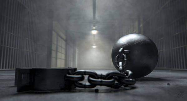 Chain Digital Art - Ball And Chain In Prison by Allan Swart