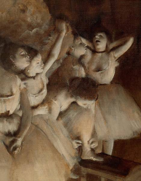 Warming Up Wall Art - Painting - Ballet Rehearsal On Stage by Edgar Degas