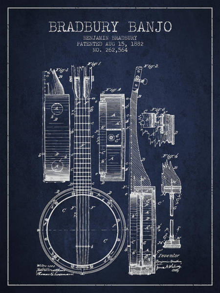 Wall Art - Digital Art - Banjo Patent Drawing From 1882 - Blue by Aged Pixel