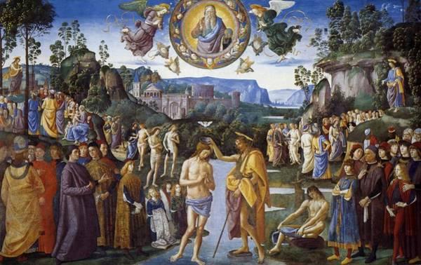 Apostolic Palace Wall Art - Painting - Baptism Of Christ by Pietro Perugino