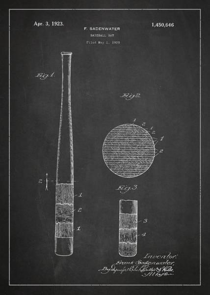 Baseball Bat Patent Wall Art - Digital Art - Baseball Bat Patent Drawing From 1920 by Aged Pixel