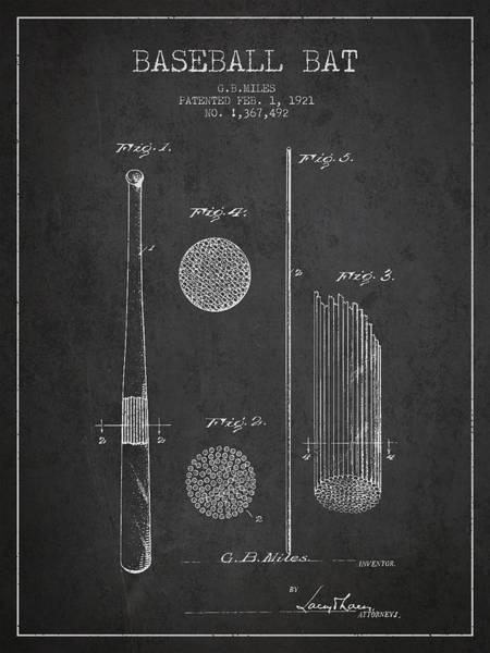 Baseball Bat Patent Wall Art - Digital Art - Baseball Bat Patent Drawing From 1921 by Aged Pixel