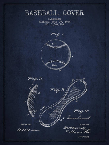Wall Art - Digital Art - Baseball Cover Patent Drawing From 1924 by Aged Pixel