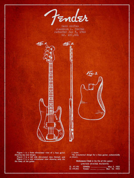 Bass Guitar Digital Art - Bass Guitar Patent Drawing From 1960 by Aged Pixel