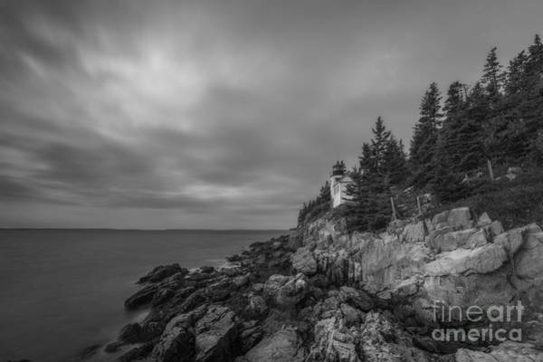 Dreary Photograph - Bass Harbor Head Lighthouse Bw by Michael Ver Sprill