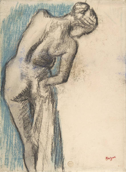 Bather Drawing - Bather Drying Herself by Edgar Degas