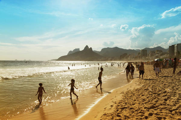 Beach Holiday Photograph - Bathers On The Beach Of Ipanema by Buena Vista Images