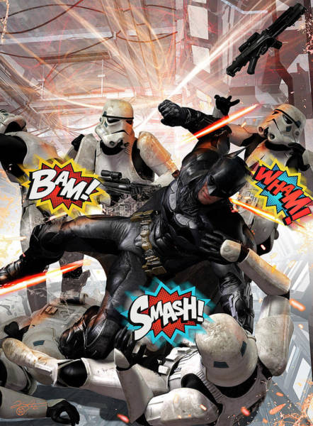 Text Bubble Photograph - Batman Fighting Off Stormtroopers by Kurt Miller