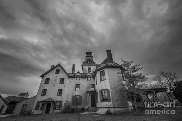 Picket Fence Photograph - Batsto Village Mansion Ominous Clouds by Michael Ver Sprill